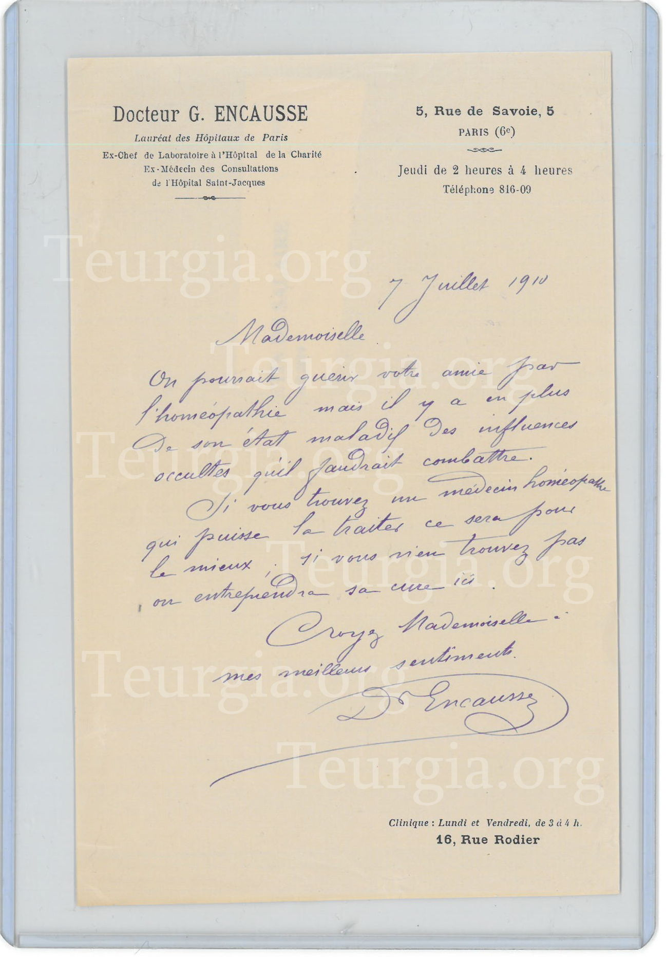 A medical prescription written by Dr Papus: rare document